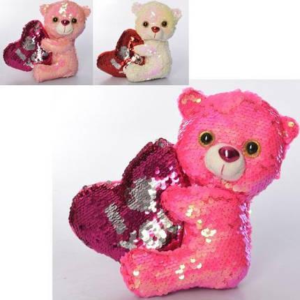 KMMP2172 М'яка іграшка ведмедик, паєтки, глазастик, серце, в кульку, 19 см, фото 2