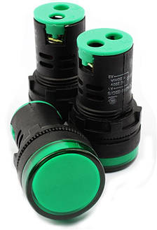 Світлодіодний індикатор AD22-22DS 12v AC/DC зелений, фото 2