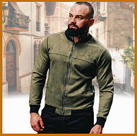 Мужская замшевая легкая куртка без капюшона хаки, стильный бомбер на молнии Asos Турция