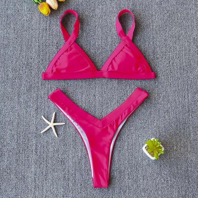 Купить розовый купальник треугольник