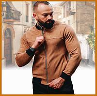 Мужская замшевая легкая куртка без капюшона беж, стильный бомбер на молнии Asos Турция