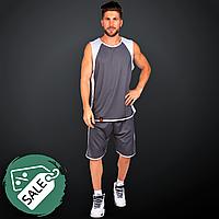 Распродажа!Форма баскетбольная мужская двухсторонняя LIDONG ОднослойнаяСерый-белый (LD-8802) 3XL