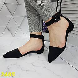 Балетки босоножки туфли с острым носом низкий каблук классика