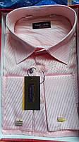 Розовая классическая рубашка под запонку SENIOR CARDIN (размер 43-44)