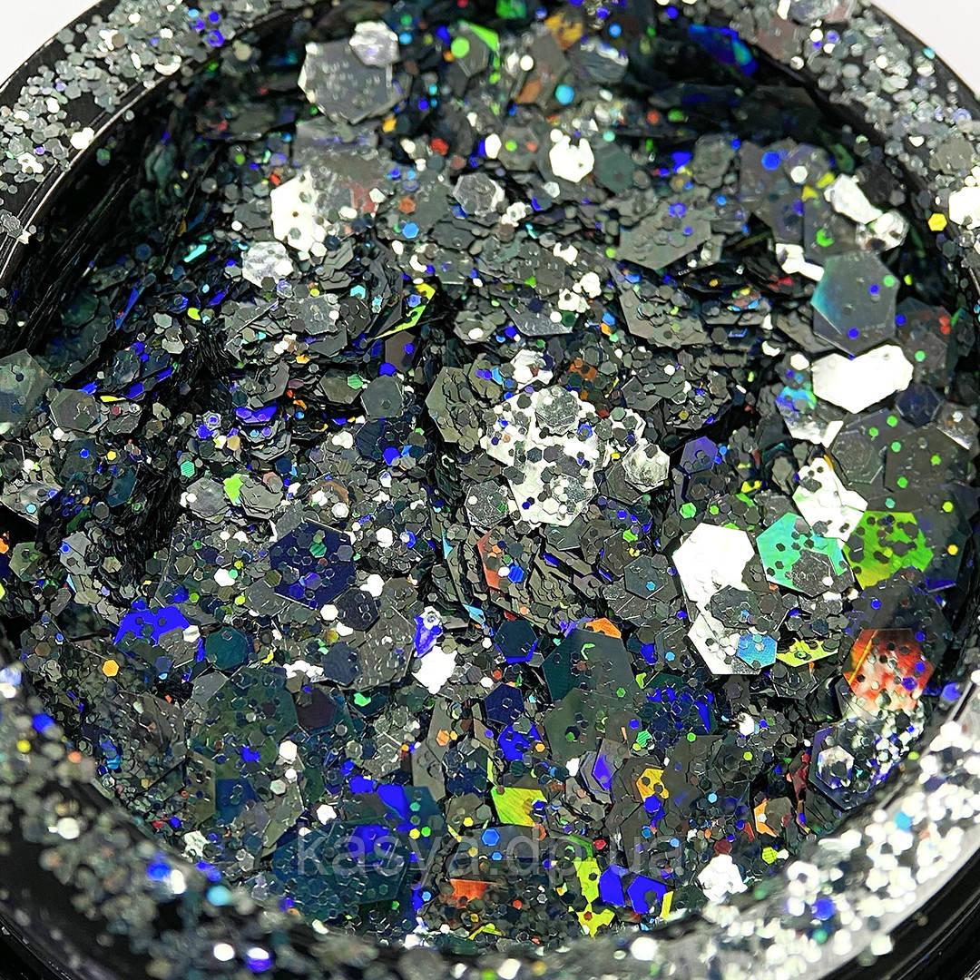Глиттер голограммный микс Голубой №09 / Holo Glitter Mix LIGHT BLUE