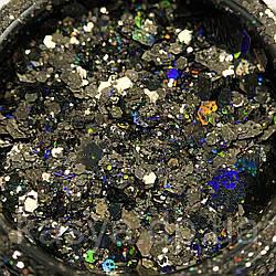 Гліттер голограмний мікс Чорний №10 / Holo Glitter Mix BLACK