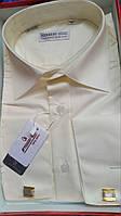 Молочная АЙВОРИ классическая рубашка под запонку FERRERO GIZZI (размер 42. 44. 45)