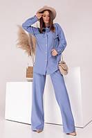 Модный костюм женский с брюками-трубами