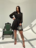 Классическое и легкое платье с имитацией запаха на груди и шифоновым в горошек рукавом, фото 2