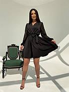 Классическое и легкое платье с имитацией запаха на груди и шифоновым в горошек рукавом, фото 3
