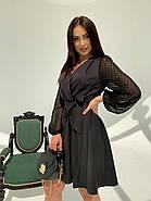Классическое и легкое платье с имитацией запаха на груди и шифоновым в горошек рукавом, фото 4