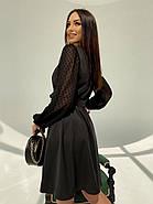 Классическое и легкое платье с имитацией запаха на груди и шифоновым в горошек рукавом, фото 5