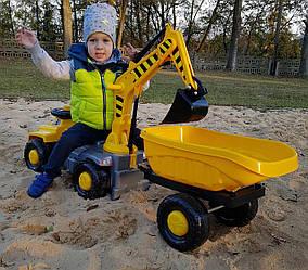 Детский экскаватор погрузчик для песочницы с сиденьем + прицеп ПОЛЬША