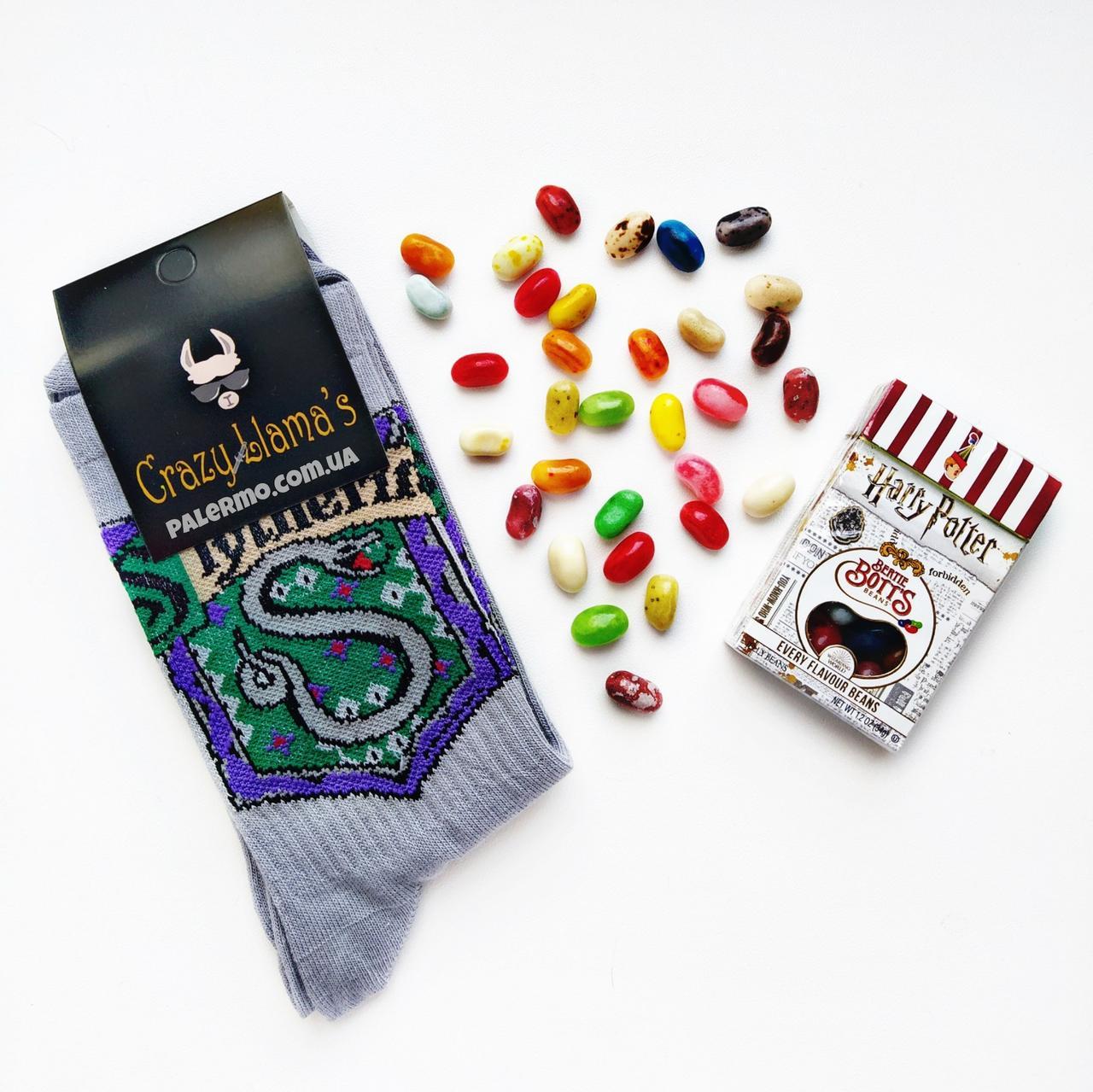 Набір Цукерки Гаррі Поттер 34г + Шкарпетки Слізерін Slytherin Harry Potter сірі