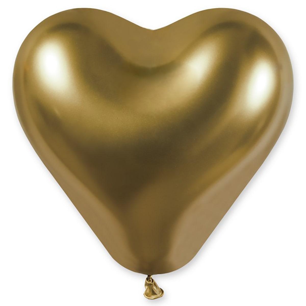 """И Сердце 12""""/88 Хром золотистый Shiny Gold шар латексный"""