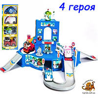 Игрушка гараж парковка Робокар Поли (4 героя) Спасательная станция Полли робокар