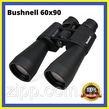 Бінокль Bushnell 60x90 з чохлом прогумований корпус оптика для спостереження чорний