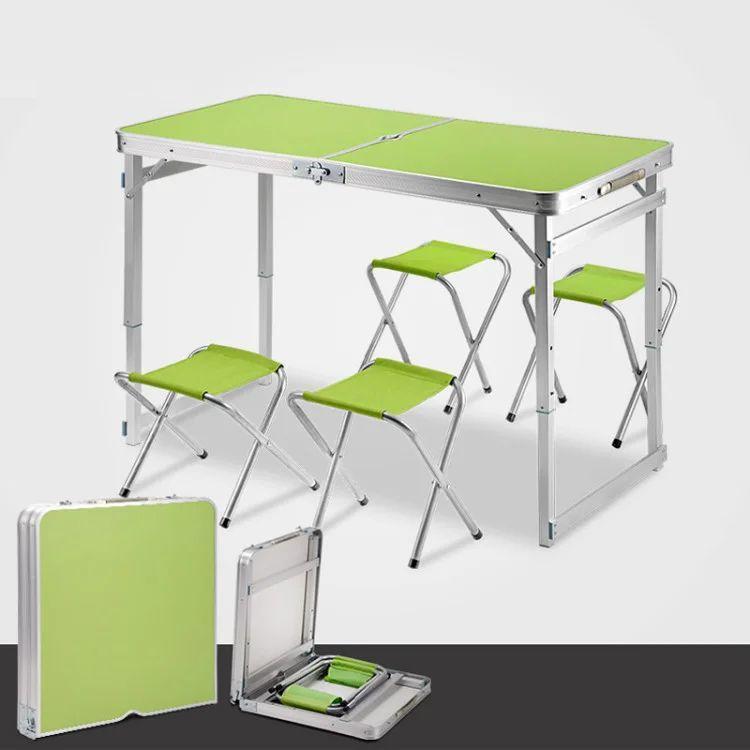 Стол алюминиевый чемодан для пикника со стульями (усиленный) (ТОЛЬКО ЗЕЛЁНЫЙ)