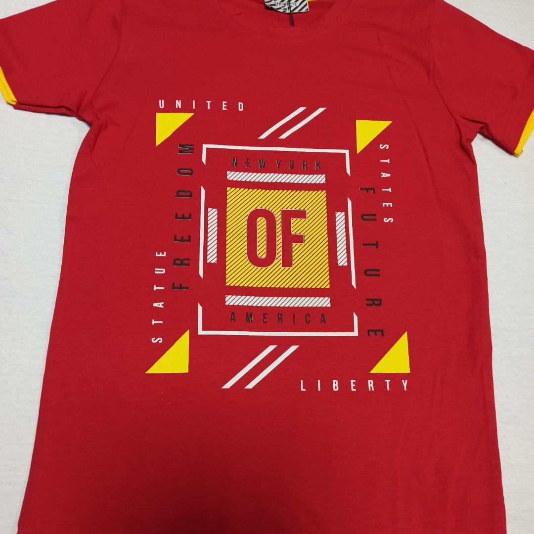Футболка підліткова модна красива ошатна оригінальна червоного кольору для хлопчика.