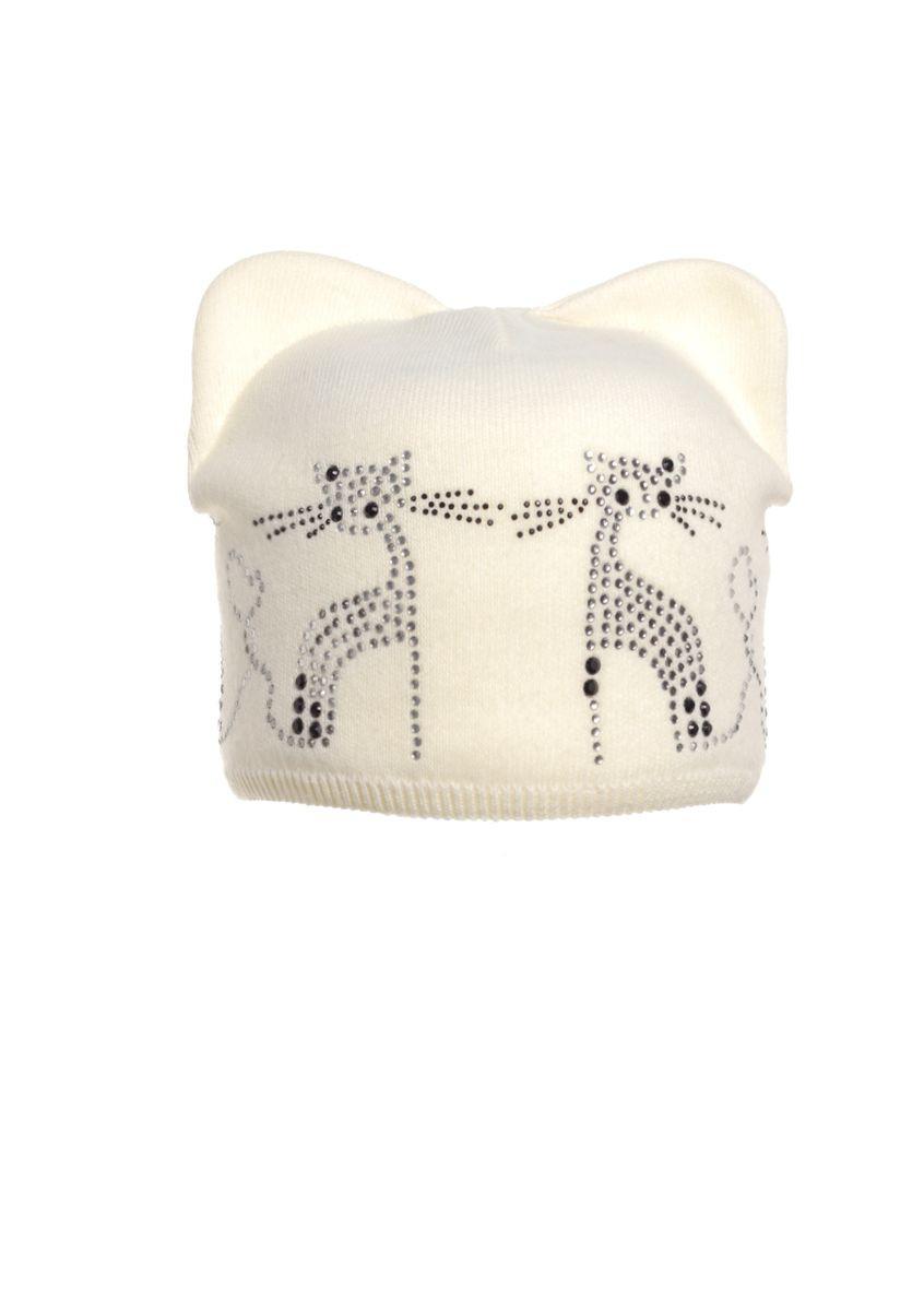 Красивая молодежная вязаная шапка украшенная бусинами рисунком котов.