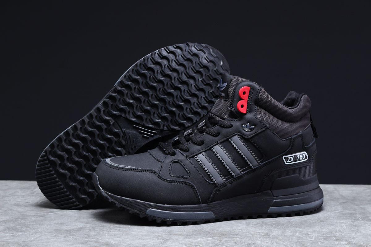 Зимові чоловічі кросівки 31363, Adidas ZX 750 (хутро), чорні, [ 41 ] р. 41-26,5 див.