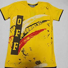 Футболка модная красивая нарядная оригинальная жёлтого цвета  для мальчика. 134