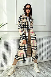 Пальто-рубашка женское, в клетку, демисезонное, кашемир №1685 | S-XL размеры