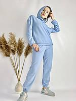 Голубой спортивный женский костюм с худи и заужеными штанами-джогерами  легкий из хлопка размер S-M, фото 1