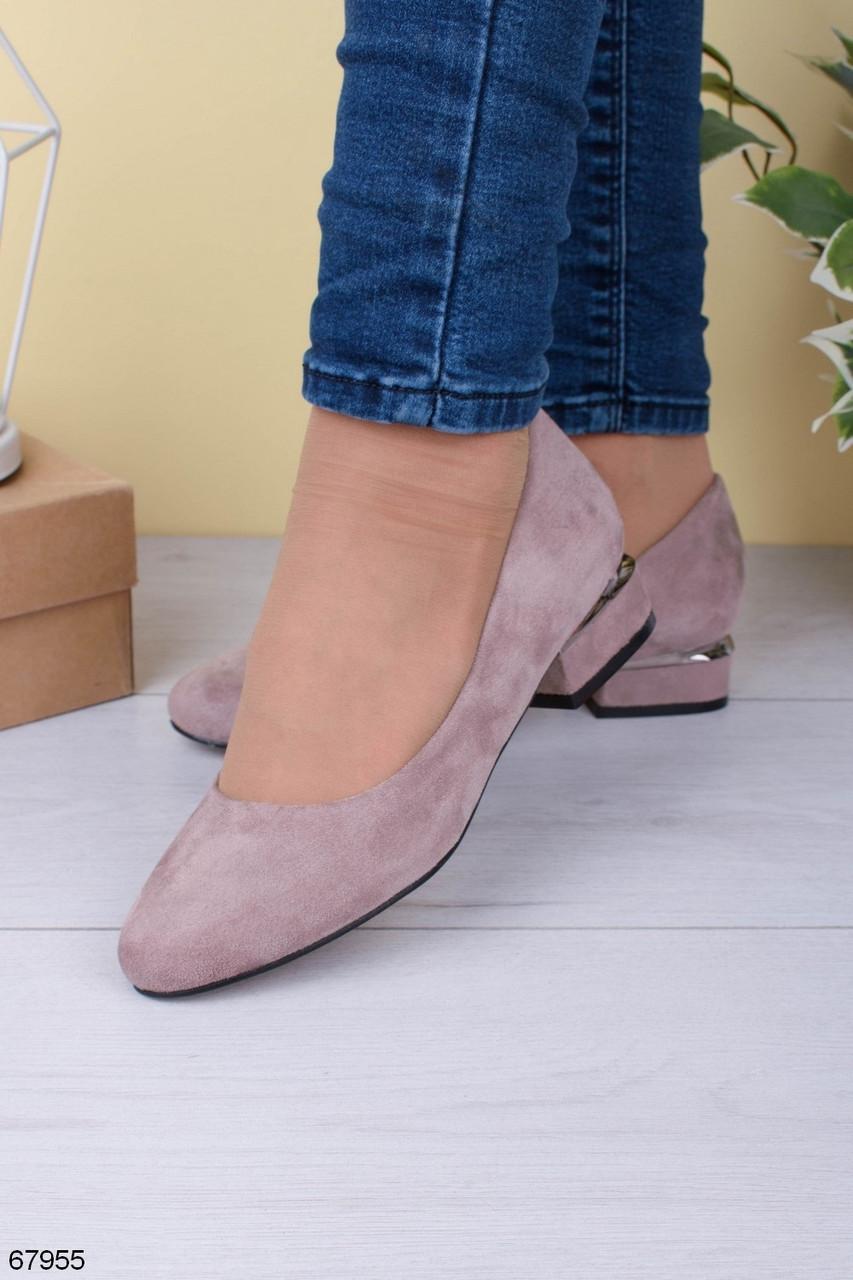 Женские туфли светлые бежевые на каблуке 4 см эко-замш