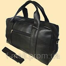 Спортивна міська дорожня сумка штучна шкіра чорна чоловіча жіноча
