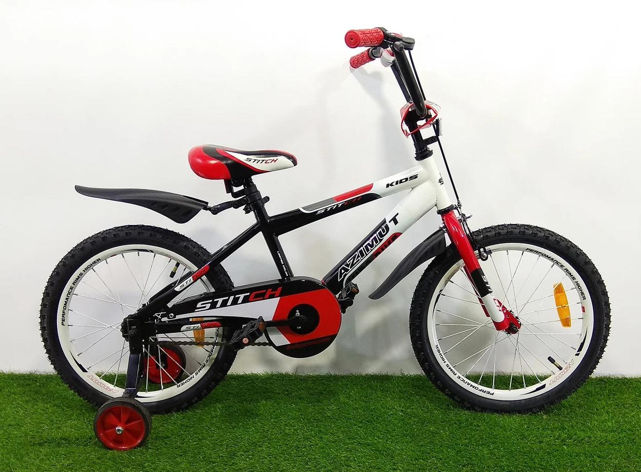 Дитячий двоколісний велосипед 16 дюймів Azimut Stitch А червоний