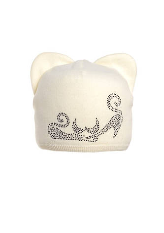 Милая забавная зимняя шапка, украшенная бусинами с ушками. , фото 2