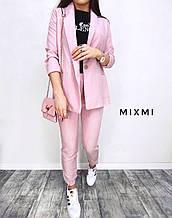 Жіночий костюм батал, льон - габардин, р-р 48-50 (рожевий)