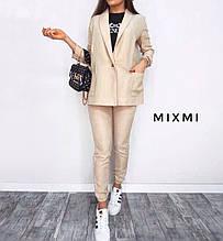 Жіночий костюм батал, льон - габардин, р-р 48-50 (бежевий)