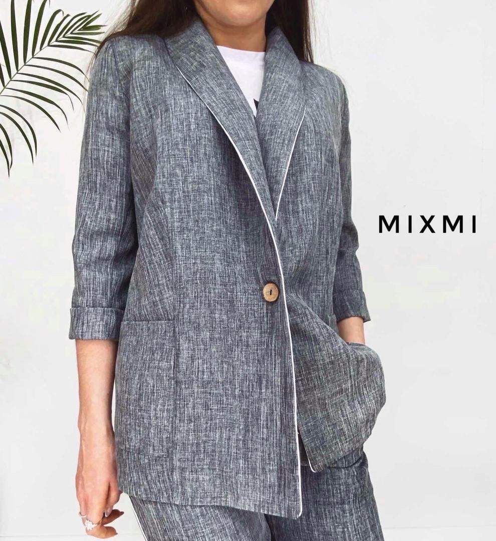Жіночий костюм батал, льон - габардин, р-р 48-50 (сірий)
