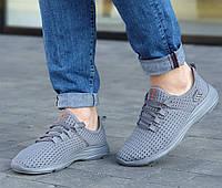 Летние мужские кроссовки сетка лето повседневные модные молодежные прочные серые 42 размер Restime 21811