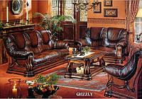 """Мягкая мебель из натуральной кожи """"Grizly"""", Гризли (диван 3, диван 2, кресло, стол)"""