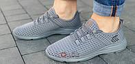 Мужские кроссовки лето сетка для бега спортзала комфорт стильные легкие удобные серые 42 размер Restime 21811