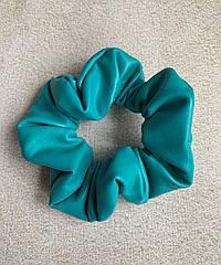 Шкіряна резинка жіноча зелена на волосся екошкіра, резинка кожаная жвачка зеленая