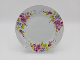 Тарелка мелкая десертная керамическая белая цветная с рисунком закусочная Венеция в упаковке 12 штук D 18 cm