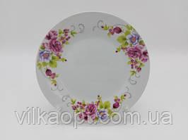 Тарілка дрібна десертна керамічна біла кольорова з малюнком закусочна Венеція в упаковці 12 штук D 18 cm