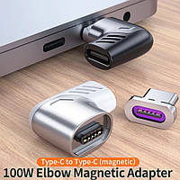 Переходник адаптер для кабеля USB-С угловой магнитный Essager PD 100W Type C - Type С.