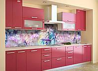 Скинали на кухню Zatarga «Полевые цветы Велосипед» 650х2500 мм виниловая 3Д наклейка кухонный фартук Z180735/1