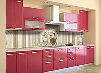 Скинали на кухню Zatarga «Цветочный Велосипед» 600х2500 мм виниловая 3Д наклейка кухонный фартук самоклеящаяся