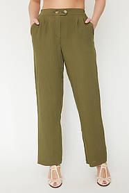 Женские летние прямые брюки на резинке Большой размер 50-60