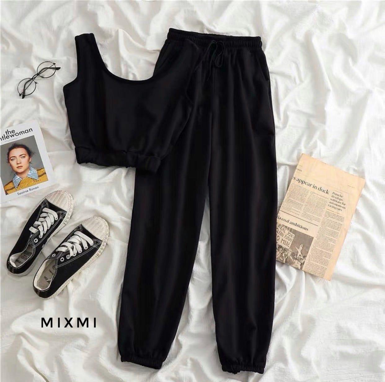Жіночий спортивний костюм, турецька двунить, р-р 42-44; 44-46 (чорний)