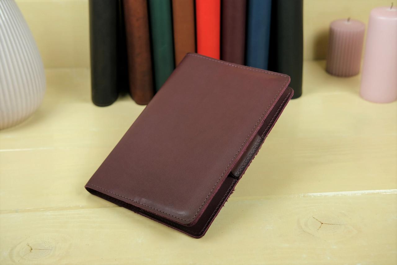 """Обкладинка для блокнот А5 """"Модель № 1"""", Шкіра Італійський краст, колір Бордо"""