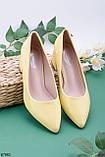 Туфли женские желтые эко-кожа (лак) на каблуке 5,5 см, фото 2