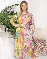 Новинка! Красивое легкое платье с женственным принтом, батал, арт. А510, цвет нежно жёлтый/розовый