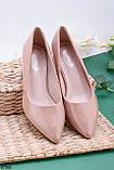 Туфлі жіночі бежеві/ пудрові каблук 5,5 см еко-шкіра - лак, фото 2